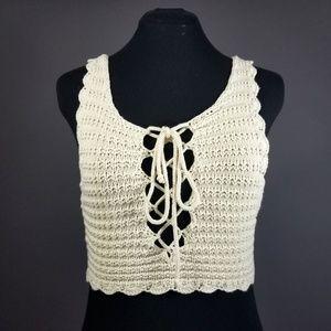 Laced crochet tank top
